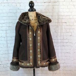Coldwater Creek vegan suede jacket w beaded trim